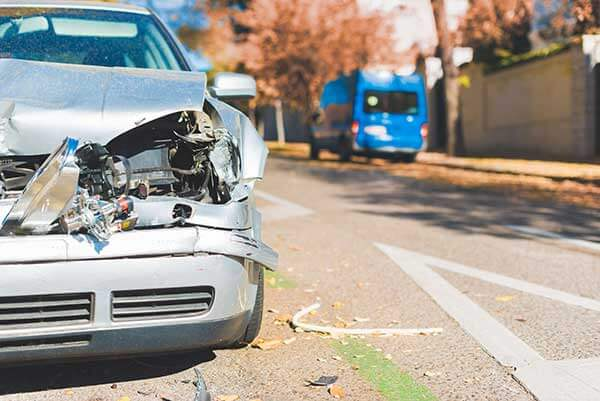 Front in collision car wreck